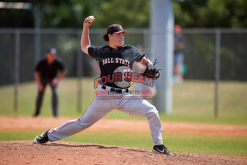 Ball State Cardinals relief pitcher Andre Orselli (33) during a game against the Saint Joseph's Hawks on March 9, 2019 at North Charlotte Regional Park in Port Charlotte, Florida.  Ball State defeated Saint Joseph's 7-5.  (Mike Janes/Four Seam Images)