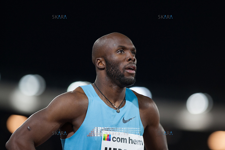 MERRITT Lashawn (USA) looks at footage of the 400m run after his win at the IAAF Diamond League meeting in Stockholm. He finished the race comfortably in first at 44.69 seconds.