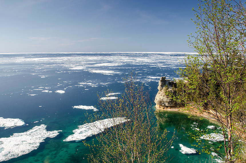 Beautiful Miners Castle along the Pictured Rocks National Lakeshore and an icy Lake Superior. Memorial Weekend 2014 - Munising, MI