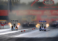 Sept. 3, 2010; Clermont, IN, USA; NHRA top fuel dragster driver Bruce Litton (right) races Rod Fuller during qualifying for the U.S. Nationals at O'Reilly Raceway Park at Indianapolis. Mandatory Credit: Mark J. Rebilas-