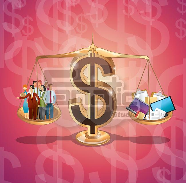 Dollar sign balancing business management