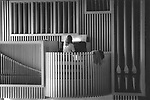 Vintage black and white. File #90-147-I #34. Organ and organist at Swarthmore College, PA. 1990