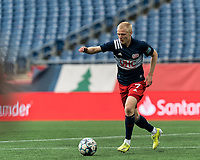 FOXBOROUGH, MA - MAY 12: Connor Presley #7 of New England Revolution II dribbles during a game between Union Omaha and New England Revolution II at Gillette Stadium on May 12, 2021 in Foxborough, Massachusetts.