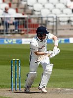27th May 2021; Emirates Old Trafford, Manchester, Lancashire, England; County Championship Cricket, Lancashire versus Yorkshire, Day 1; Dom Bessof Yorkshire plays defensively to covers