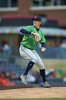 Gwinnett Braves starting pitcher Kolby Allard (33) in action against the Durham Bulls at Durham Bulls Athletic Park on April 20, 2019 in Durham, North Carolina. The Bulls defeated the Braves 11-3 in game one of a double-header. (Brian Westerholt/Four Seam Images)