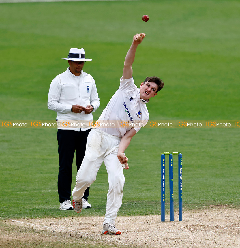 Jack Carson bowls for Sussex during Kent CCC vs Sussex CCC, LV Insurance County Championship Group 3 Cricket at The Spitfire Ground on 14th July 2021