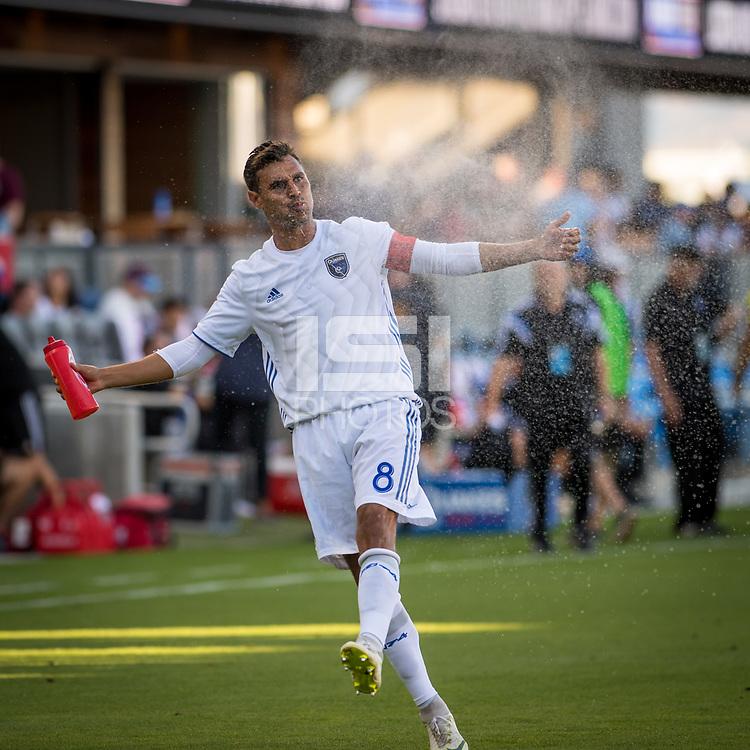 SAN JOSÉ CA - JULY 27: Chris Wondolowski #8 during a Major League Soccer (MLS) match between the San Jose Earthquakes and the Colorado Rapids on July 27, 2019 at Avaya Stadium in San José, California.