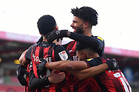 Dominic Solanke of AFC Bournemouth is congratulated by Philip Billing of AFC Bournemouth after scoring the first goal during AFC Bournemouth vs Huddersfield Town, Sky Bet EFL Championship Football at the Vitality Stadium on 12th December 2020