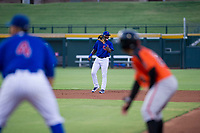 AZL Cubs shortstop Delvin Zinn (21) communicates with second baseman Fidel Mejia (not pictured) during a game against the AZL Giants on July 17, 2017 at Sloan Park in Mesa, Arizona. AZL Giants defeated the AZL Cubs 12-7. (Zachary Lucy/Four Seam Images)
