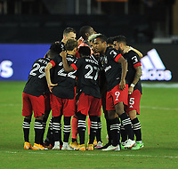 WASHINGTON, DC - SEPTEMBER 27: D.C. United getting in the huddle during a game between New England Revolution and D.C. United at Audi Field on September 27, 2020 in Washington, DC.