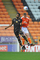 Blackpool's Daniel Ballard vies for possession with Milton Keynes Dons' Cameron Jerome<br /> <br /> Photographer Kevin Barnes/CameraSport<br /> <br /> The EFL Sky Bet League One - Blackpool v Milton Keynes Dons - Saturday 24 October 2020 - Bloomfield Road - Blackpool<br /> <br /> World Copyright © 2020 CameraSport. All rights reserved. 43 Linden Ave. Countesthorpe. Leicester. England. LE8 5PG - Tel: +44 (0) 116 277 4147 - admin@camerasport.com - www.camerasport.com