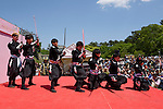 """Chris O'Neill, MAY 5, 2016 - American Chris O'Neill (far left), the first foreign full-time salaried ninja in Japan, performs with his Japanese colleagues during an event at Nagoya Castle in Nagoya, Aichi Prefecture, Japan. O'Neill joins six Japanese ninjas hired by Aichi Prefecture to promote tourism in the region.<br /> <br /> O'Neill said being a ninja was a lifelong dream. """"My personal goal is to protect the weak, defend the innocent, and be a guardian for those who need a guardian,"""" he said in response to a reporter's question.<br /> <br /> O'Neill added that he was proud to perform alongside his six Japanese colleagues. """"We're writing the next chapter of ninja history. We're the next generation of ninja."""" (Photo by Ben Weller/AFLO) (JAPAN) [UHU]"""