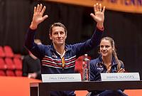 Den Bosch, The Netherlands, Februari 8, 2019,  Maaspoort , FedCup  Netherlands - Canada, Draw, Dutch team, captain Paul Haarhuis and Bibiana Schoofs<br /> Photo: Tennisimages/Henk Koster