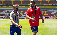GUADALAJARA, MEXICO - MARCH 18: Jason Kreis head coach and Jeff Cassar assistant coach of the United States before a game between Costa Rica and USMNT U-23 at Estadio Jalisco on March 18, 2021 in Guadalajara, Mexico.