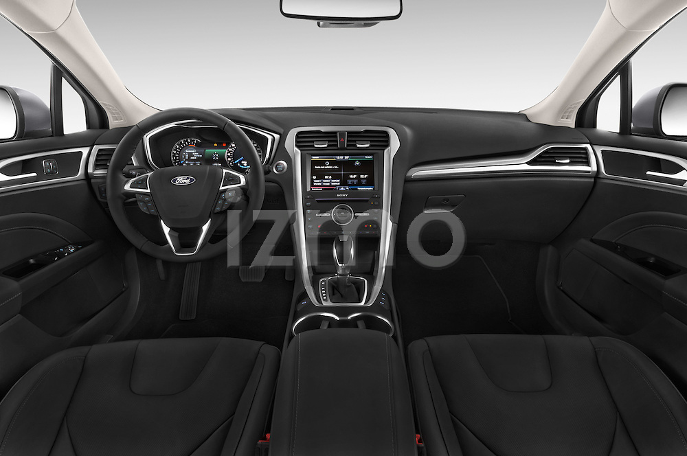 Stock photo of straight dashboard view of a 2015 Ford Mondeo Titanium 5 Door Wagon 2WD Dashboard