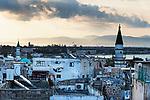 Naher Osten, Mittelmeer, Israel, Galilea, Akko, Akkon, Acre, St. Jean d'Acre, Altstadt ist UNESCO Weltkulturerbe, Sonnenaufgang, ueber den Daechern der Altstadt, Moschee, Minarett, Kuppel, arabisch, 3/2014<br />Engl.: Near East, Mediterranean Sea, Israel, Galilee, Akko, Akkon, Acre, St. Jean d'Acre, Old City of Acre is UNESCO World Heritage site, mosque, minaret, sunrise, arabic, 3/2014