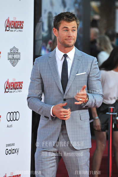 """Chris Hemsworth at the world premiere of his movie """"Avengers: Age of Ultron"""" at the Dolby Theatre, Hollywood.<br /> April 13, 2015  Los Angeles, CA<br /> Picture: Paul Smith / Featureflash"""