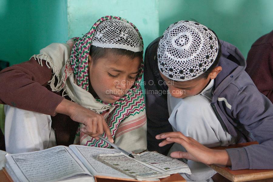 Madrasa Students Studying their Lessons, Madrasa Imdadul Uloom, Dehradun, India.