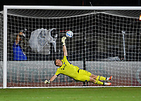 LAKE BUENA VISTA, FL - JULY 26: Tim Melia of Sporting KC has the shot just go beyond his reach in the shootout during a game between Vancouver Whitecaps and Sporting Kansas City at ESPN Wide World of Sports on July 26, 2020 in Lake Buena Vista, Florida.