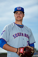 South Bend Cubs pitcher Brendon Little (34) poses for a photo before the first game of a doubleheader against the Lake County Captains on May 16, 2018 at Classic Park in Eastlake, Ohio.  South Bend defeated Lake County 6-4 in twelve innings.  (Mike Janes/Four Seam Images)