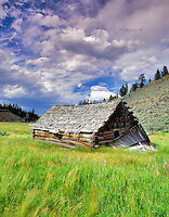 Abandoned pioneer cabin. Near Burns, Oregon.