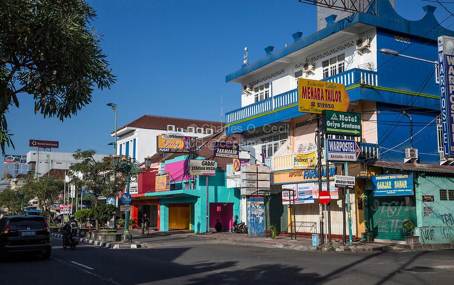 Yogyakarta, Java, Indonesia.  Jalan Pangeran Mangkubumi Street Scene, Early Morning.