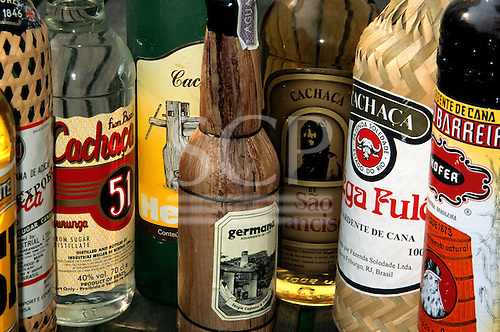 Brazil. Bottles of different brands of cachaca (pinga, aguardente, sugar cane alcohol).