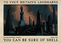 BNPS.co.uk (01202 558833)<br /> Pic: Lyon&Turnbull/BNPS<br /> <br /> Pictured: John Knox Monument made for a moody poster in Glasgow<br /> <br /> A vast collection of vintage Shell posters have sold at auction for almost £60,000.<br /> <br /> The group of 49 sheets were sold directly from the oil giant's archives and featured some incredibly rare designs from down the years.<br /> <br /> All of the posters had previously been used in Shell advertising campaigns, dating back to between the 1920s and 1950s.<br /> <br /> Many of the colourful designed featured the slogan 'You can be sure of Shell' and list people who preferred their fuel.