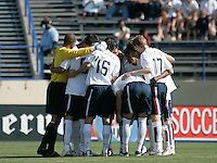USA team huddles before the match. The USA defeated China, 4-1, in an international friendly at Spartan Stadium, San Jose, CA on June 2, 2007.