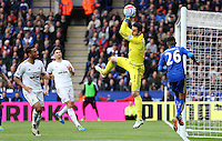 Lukasz Fabianski of Swansea City makes a save during the Barclays Premier League match between Leicester City and Swansea City played at The King Power Stadium, Leicester on April 24th 2016
