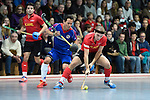 Mannheim, Germany, January 18: During the 1. Bundesliga Herren Hallensaison 2014/15 Sued hockey match between Mannheimer HC (blue) and TSV Mannheim (red) on January 18, 2015 at Irma-Roechling-Halle in Mannheim, Germany. Final score 4-6 (4-4). (Photo by Dirk Markgraf / www.265-images.com) *** Local caption *** Patrick Harris #17 of Mannheimer HC