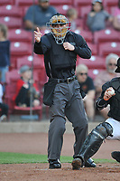 Home plate umpire Kevin Mandzuk makes a strike call during the game between the Cedar Rapids Kernels and the Quad Cities River Bandits at Veterans Memorial Stadium on April 16, 2019 in Cedar Rapids, Iowa.  The Kernels won 11-2.  (Dennis Hubbard/Four Seam Images)