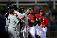 Inland Empire 66ers designated hitter Julian Leon (37) breaks up a scuffle between Tyler Nevin (16) and relief pitcher Carlos Salazar (35) during a California League game against the Lancaster JetHawks at San Manuel Stadium on May 18, 2018 in San Bernardino, California. Lancaster defeated Inland Empire 5-3. (Zachary Lucy/Four Seam Images)