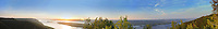 "Extra long panorama of Volga river from the Strelnaya hill of Zhiguli mountains. The territory of the National Park ""Samara Luka"""