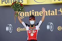9th September 2020, Chatelaillon Plage to Poitiers, France; 107th Tour de France Cycling tour, stage 11;  Lotto - Soudal Ewan, Caleb  celebrates on podium in Poitiers