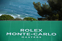 11th April 2021; Roquebrune-Cap-Martin, France;  Ocean and logo scene during practise sessions for the  Rolex Monte Carlo Masters