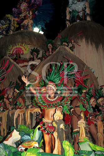 Rio de Janeiro, Brazil. Carnival float with Amazon Indian theme.