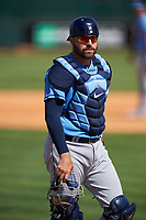 Tampa Bay Rays catcher Curt Casali (19) during a Spring Training game against the Pittsburgh Pirates on March 10, 2017 at LECOM Park in Bradenton, Florida.  Pittsburgh defeated New York 4-1.  (Mike Janes/Four Seam Images)
