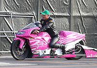 Nov 12, 2016; Pomona, CA, USA; NHRA pro stock motorcycle rider Jerry Savoie during qualifying for the Auto Club Finals at Auto Club Raceway at Pomona. Mandatory Credit: Mark J. Rebilas-USA TODAY Sports