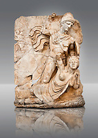 Photo of Roman releif sculpture of Emperor Claudius About to vanquish Britanica from Aphrodisias, Turkey, Images of Roman art bas releifs. Buy as stock or photo art prints. Naked warrior Claudius id about to deliver the death blow to Britanica.