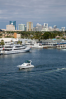 Ft. Lauderdale, Florida.  Downtown Skyline from SE 17th. Street Bridge.