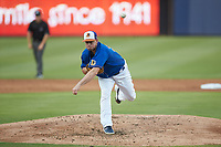 Durham Bulls starting pitcher Brendan McKay (33) delivers a pitch to the plate against the Louisville Bats at Durham Bulls Athletic Park on May 28, 2019 in Durham, North Carolina. The Bulls defeated the Bats 18-3. (Brian Westerholt/Four Seam Images)