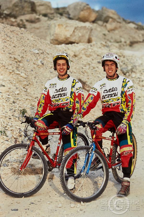 20105-04017 Martyn Ashton and Martin Hawyes . Apico Clothing and Specialized bikes . Portland Bill , Weymouth, Dorset.  Early 1990's