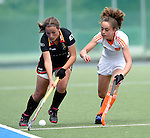 GER - Mannheim, Germany, May 24: During the U16 Girls match between The Netherlands (white) and Belgium (black) during the international witsun tournament on May 24, 2015 at Mannheimer HC in Mannheim, Germany. Final score 3-1 (2-0). (Photo by Dirk Markgraf / www.265-images.com) *** Local caption *** Margot De Clerq #6 of Belgium, Bente Baeckers #14 of The Netherlands