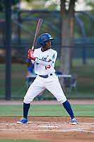 AZL Dodgers right fielder Rolando Lebron (13) at bat during an Arizona League game against the AZL White Sox at Camelback Ranch on July 3, 2018 in Glendale, Arizona. The AZL Dodgers defeated the AZL White Sox by a score of 10-5. (Zachary Lucy/Four Seam Images)
