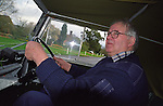 Brian Bashall, founder of Dunsfold Landrovers and the Dunsfold Collection of Land Rovers, driving his perfectly restored and award winning 1953 Land Rover Series One 80. Dunsfold, UK, 2001. --- No releases available. Automotive trademarks are the property of the trademark holder, authorization may be needed for some uses. --- Dunsfold Landrovers (DLR) was established in 1968 in Dunsfold, Surrey, UK. Due to the ever growing number of Land Rover vehicles the Dunsfold Collection of Land Rovers was launched in 1993. Today Dunsfold is maintaining the biggest and most varied collection of Land Rovers in the world.