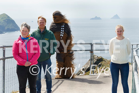 Portmagee all set to host Virtual May the 4th festival, pictured here organisers l-r; Oonagh Walsh, James Murphy, Chewbacca (Muiris Walsh) & Lisa O'Sullivan.