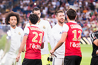 Real Madrid's player Marcelo, Casilla and Sergio Ramos and Stade de Reims's player Rodriguez and Chavarria during the XXXVII Santiago Bernabeu Trophy in Madrid. August 16, Spain. 2016. (ALTERPHOTOS/BorjaB.Hojas) /NORTEPHOTO