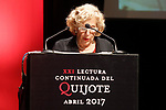 Manuela Carmena, Mayor of Madrid City during the 21st continuous reading of El Quijote. April 21,2017. (ALTERPHOTOS/Acero)