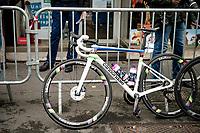 World Champion Elisa Balsamo's (ITA/Valcar-Travel and Service) new rainbow machine at the race start in Denain<br /> <br /> Inaugural Paris-Roubaix Femmes 2021 (1.WWT)<br /> One day race from Denain to Roubaix (FRA)(116.4km)<br /> <br /> ©kramon